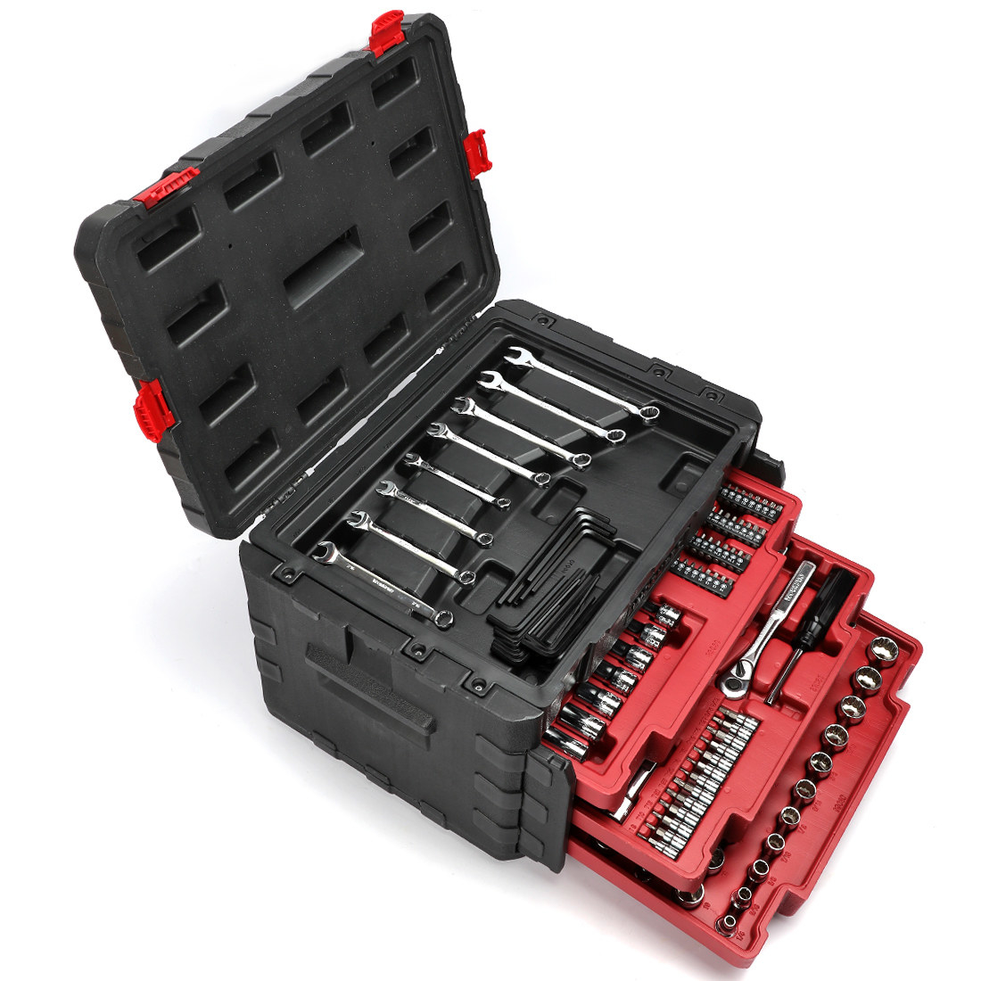 It comes with 3 ratchets, 152 sockets, 4 extensions bars, 8 wrenches, 1 magnetic handle, 12 nut drivers, 96 screwdriver bits, 40 hex keys, and more. Price: 9.99