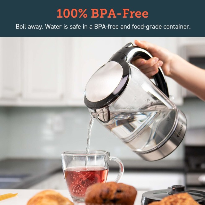 """Kettle features an auto shut-off feature and boil-dry safety protection, as well as a blue LED indicator so you know when exactly the water is boiling. It has a 1.7 L (aka 7.2 cup) capacity, and is made of scratch-resistant Borosilicate glass, a stainless-steel lid and inner pot, and is 100% BPA-free.Promising review: """"I bought this kettle after I burned my stove top version, (oops), and it couldn't have come at a better time since I was struck with a sore throat and cold the day after it arrived, and have been using it non-stop. It was very easy to clean, and it works fantastically, I used it seven times alone yesterday and have had no problems, whatsoever. Fantastic product, fantastic price, and am I the only one that likes to watch the water boil? It's gorgeous!"""" —Sophia AlbertGet it from Amazon for $33.99 (originally $39.99)."""