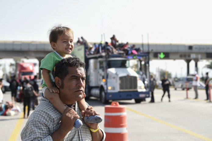 Central American immigrants, taking part in a caravan to the US, in Mexico in November 2018.