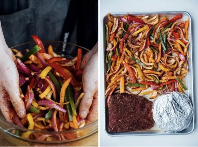 Just pile chopped veggies and seasoned flank steak onto a sheet tray, then pop foil-wrapped tortillas in at the end to warm them through. Recipe: Family-Style Sheet Pan Taco Night
