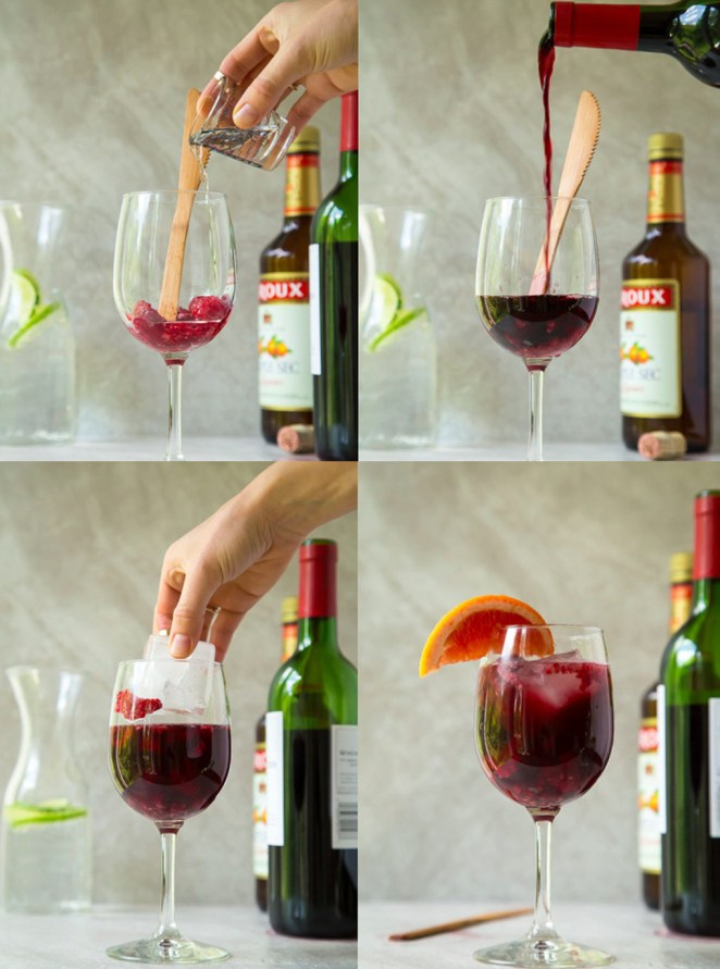 Three steps: Muddle berries, add liquor and wine, top with club soda. (Since you make these by the glass, they're perfect if you're trying to use up the last of a bottle!)Recipe: Easiest Shortcut Sangria
