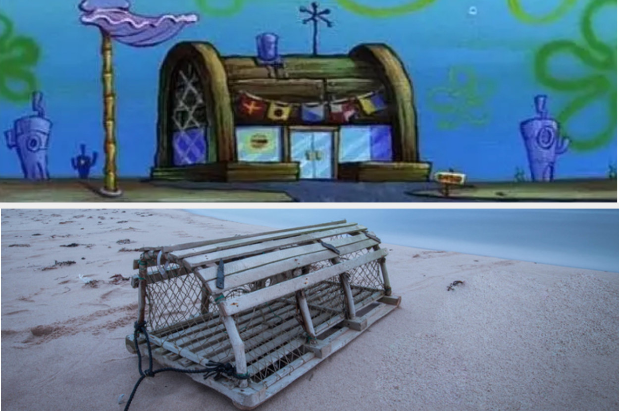 The Krusty Krab and picture of a lobster trap