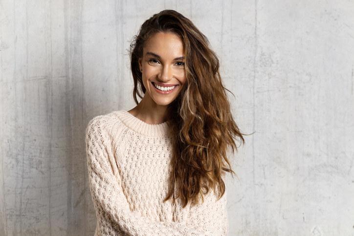 Woman with medium brown hair