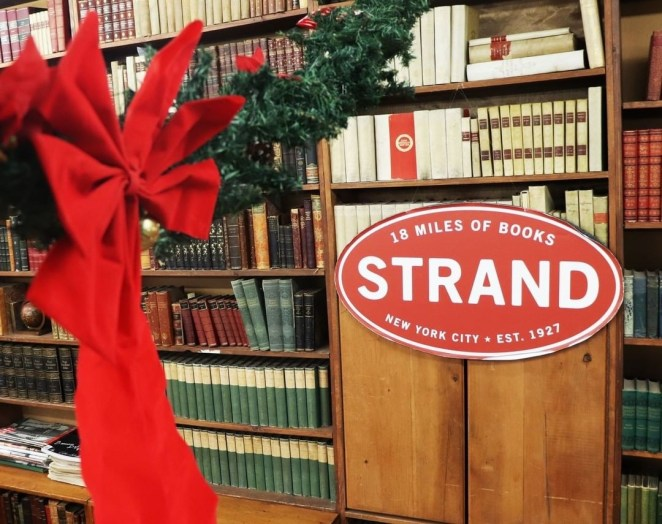 inside the strand book store at christmas
