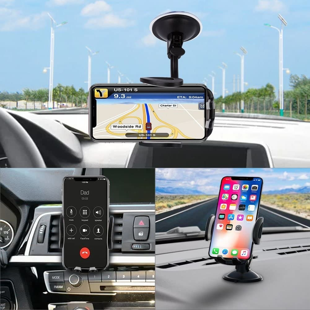 The three different ways you can use the black cell phone holder