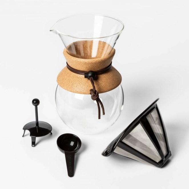 A pour-over coffee set