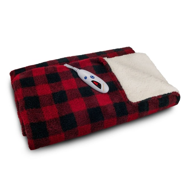 A red plaid electric blanket