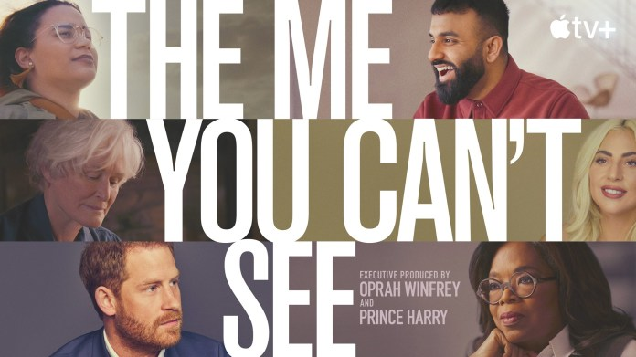 """art for """"the me you can't see"""" featuring oprah winfrey, prince harry, lady gaga, glenn close, and two others"""
