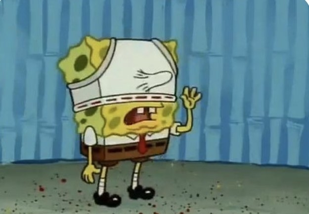 SpongeBob wearing underwear on his head and his nose poking through it
