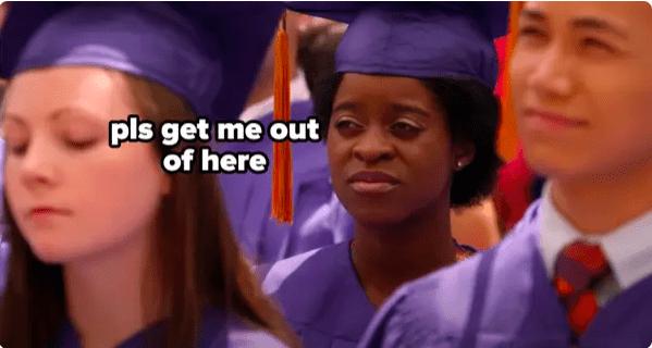 Meme of Chantay at graduation saying,