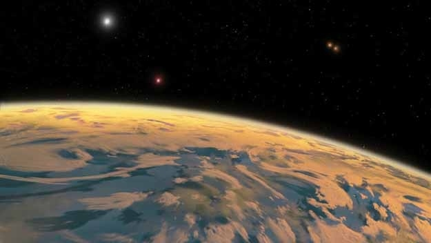 Discovered by amateur astronomers, the planet closely orbits a pair of stars, which in turn orbit another set of more distant stars. It's approximately the size of Neptune, so scientists are still trying to work out how the planet has avoided being pulled apart by the gravitational force of that many stars.