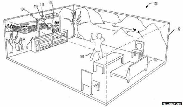 The patent suggests Microsoft wants to take gaming beyond a single screen and turn it into an immersive experience — beaming images all over the room, accounting for things like furniture, and bending the graphics around them to create a seamless environment.