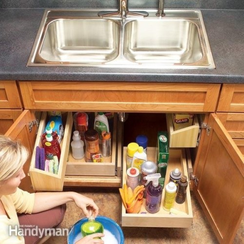 Make the most of your cabinet space with rolling shelves.