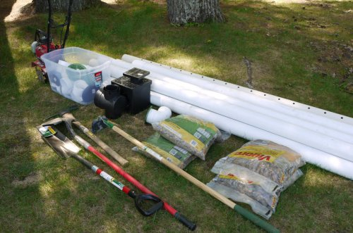 small resolution of french drain supplies and tools