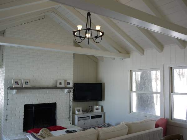 Painted Wood Paneling and Fireplace