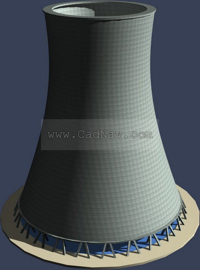 Thermal power plant rotary kiln 3d model 3Ds Max files