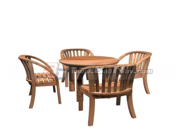Garden Table And Chairs 3d Model 3ds Max Files Free