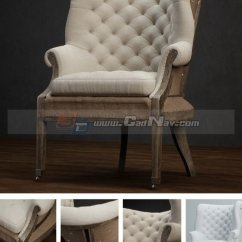 Fabric Accent Chairs Living Room Decoration Pictures Antique Furniture Sofa Chair 3d Model 3dmax ...