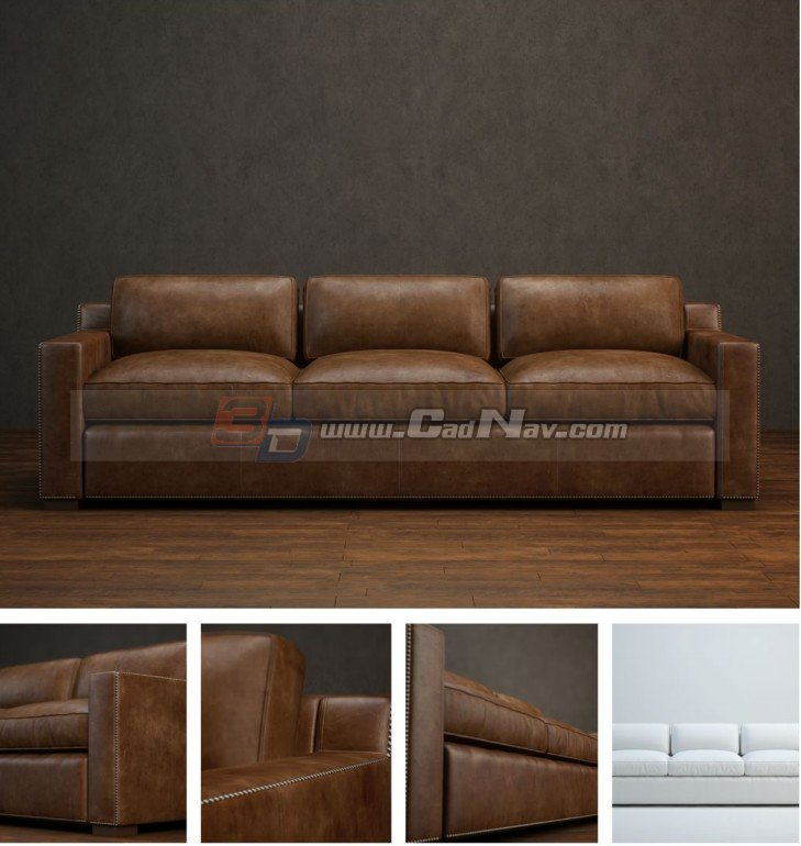 Chesterfield leather sofa 3d model 3DMax files free