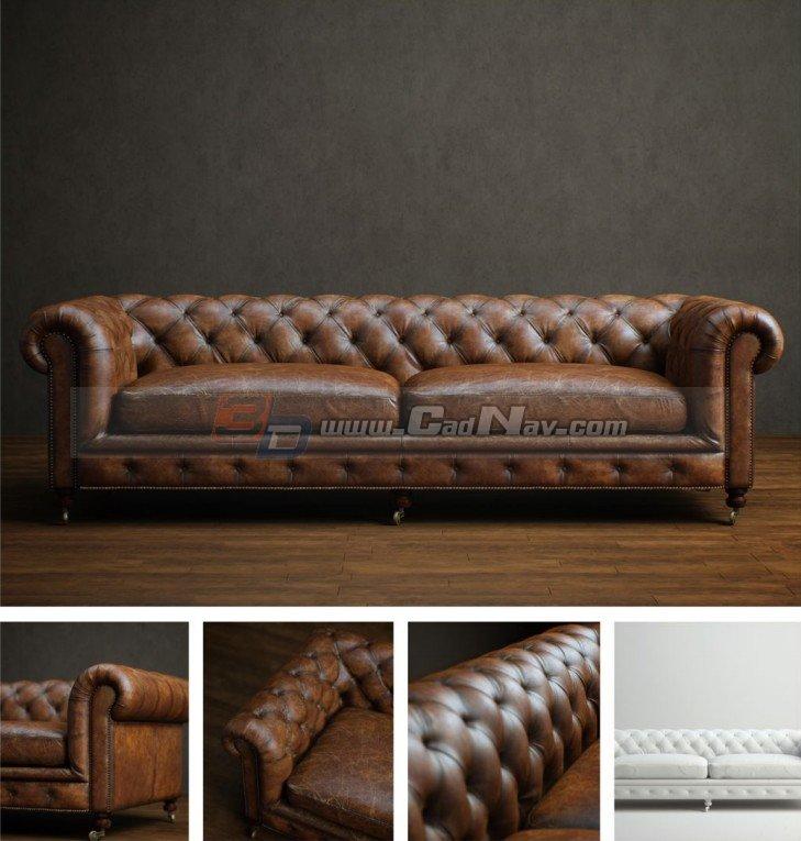 Living Room chesterfield loveseat 3d model 3DMax files
