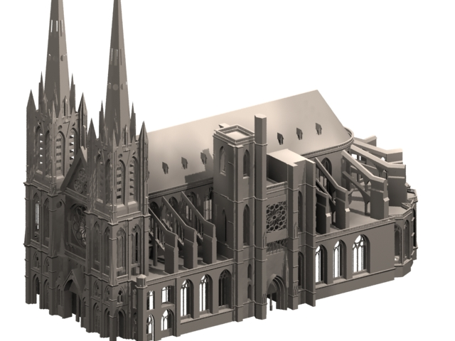 Clermont cathedral gothic architecture 3d model 3dsmax