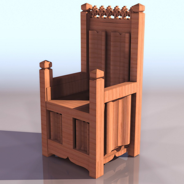 Medieval throne chair 3d model 3ds files free download