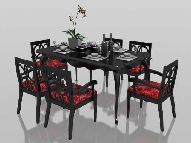 Classic 6 Seater Dining Set With Tableware 3d Model 3dsmax