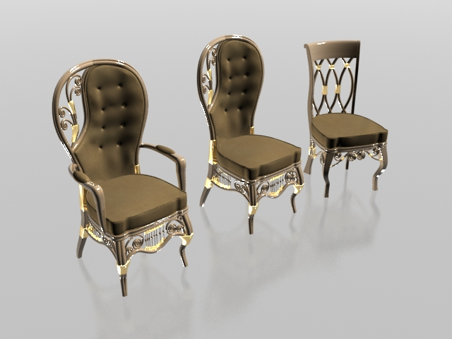 Upholstered classic chair set 3d model 3dsmax3ds files