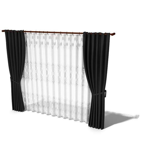 Blackout drapes with sheer curtain 3d model 3dsMax,3ds