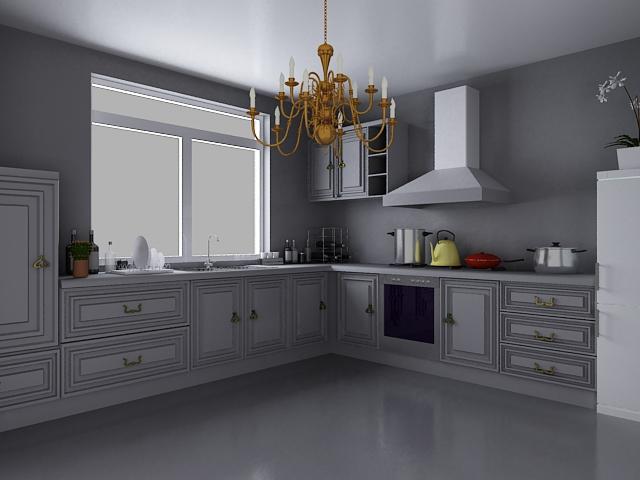 European Style Kitchen Design 3d Model 3dsMax Files Free Download
