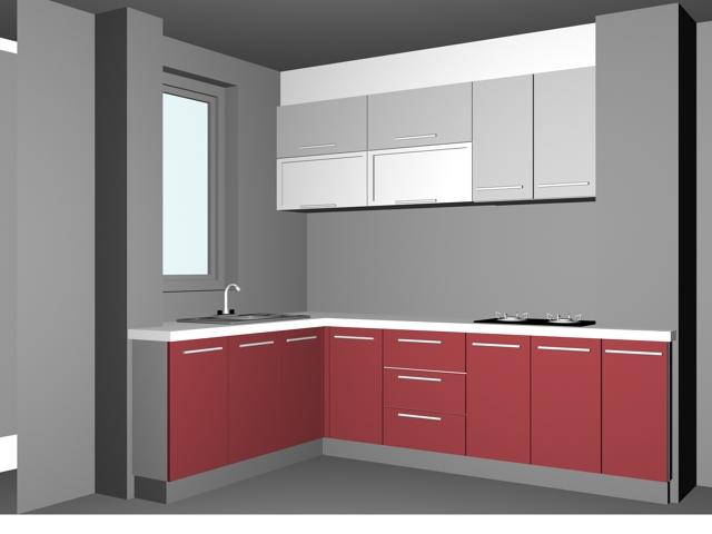 Lshaped pink kitchen design 3d model 3dsMax files free download  modeling 16389 on CadNav