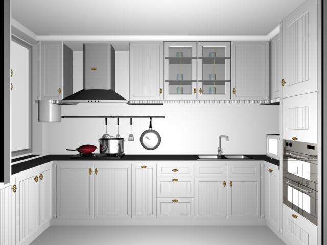 Small White Kitchen Design 3d Model 3dsMax Files Free Download