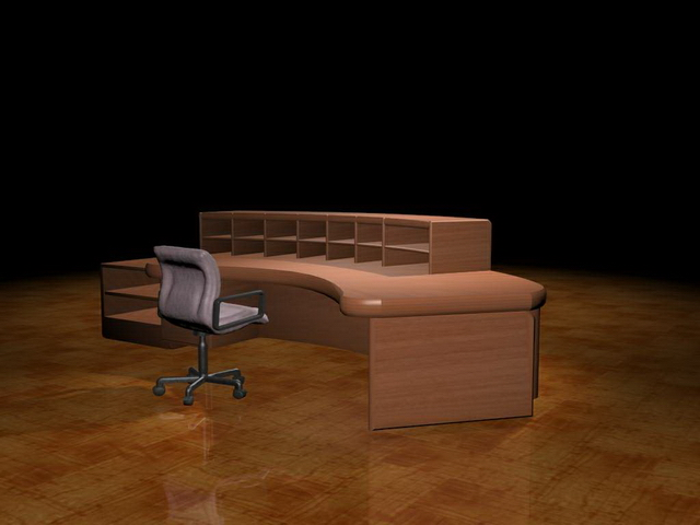 Curved reception table 3d model 3dsMax files free download