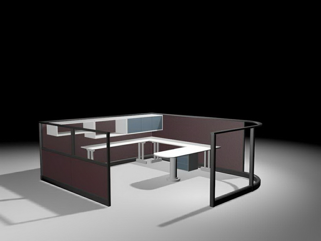 Office partition with U shaped cubicle desk 3d model