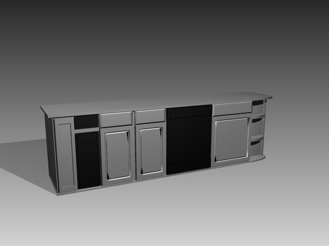 modular kitchen cabinet 3d
