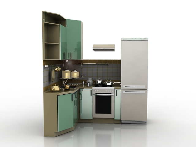 Small corner kitchen 3d model 3ds max files free download