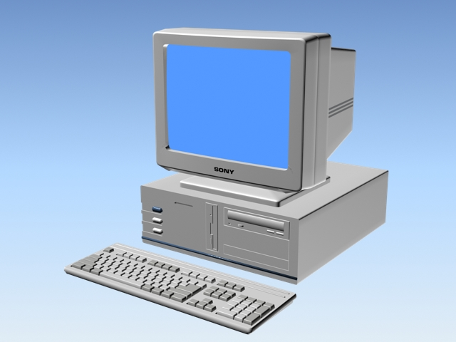 90s desktop computer 3d