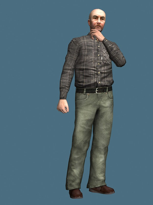 Old Man In Casual Clothes Rigged 3d Model 3ds MaxMaya
