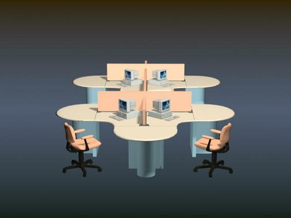 Office workstation furniture 3d model 3D Studio3ds max