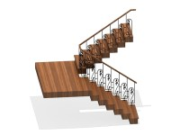 U shaped wooden staircase 3d model 3ds max files free ...