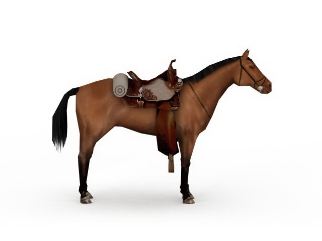 War horse with saddle 3d model 3ds max files free download