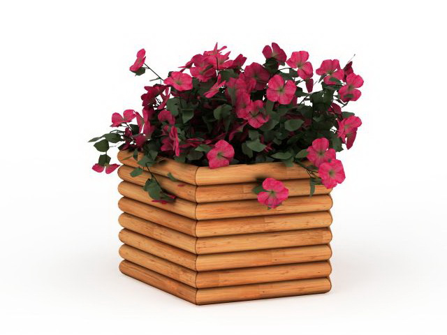 Flowers in box planters 3d model 3ds max files free