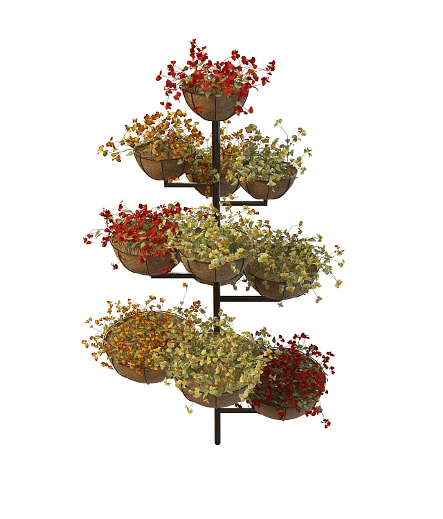 Multi Level Plant Stand With Pot Flower 3d Model 3ds Max Files Free Download Modeling 31387 On