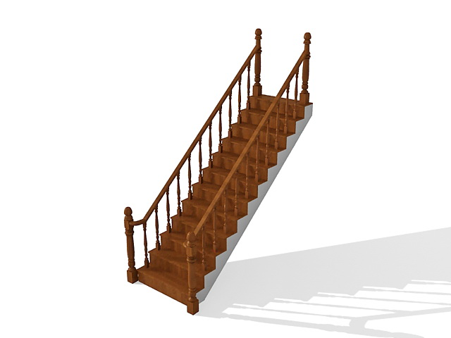 Straight Run Staircase 3d Model 3ds Max Files Free