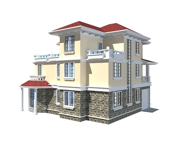 Three Floor Home Design 3d Model 3ds Max Files Free Download