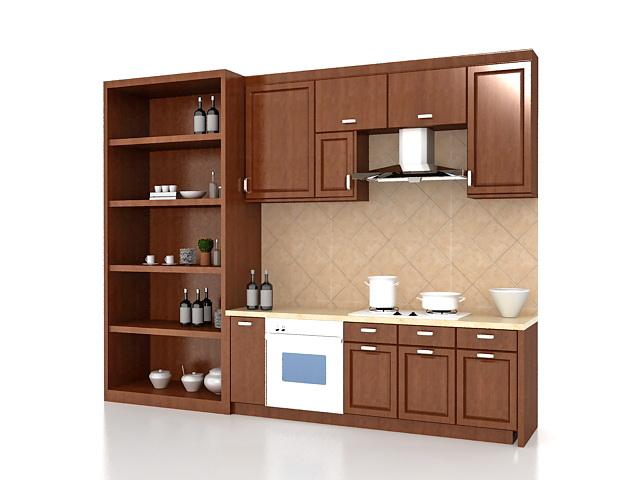 straight modular kitchen 3d