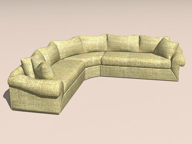 Corner sectional sofa 3d model 3ds MaxAutoCAD files free