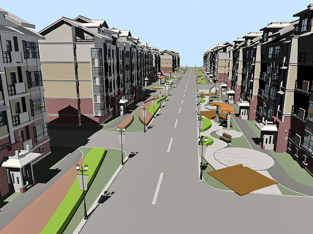 Residential Street 3d Model 3ds Max Files Free Download