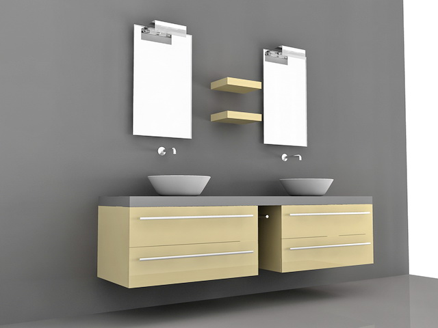 Double Vessel Sink Bathroom Vanities 3d Model 3D Studio