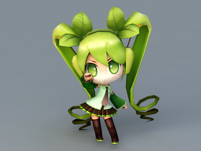 Chibi Miku Rigged 3d model 3ds Max files free download